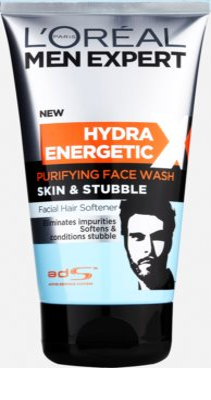 L'Oréal Paris Men Expert Hydra Energetic X gel facial limpiador con efecto suavizante para la barba