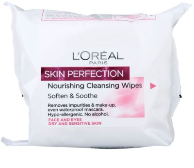 L'Oréal Paris Skin Perfection toalhitas de limpeza para peles secas e sensíveis