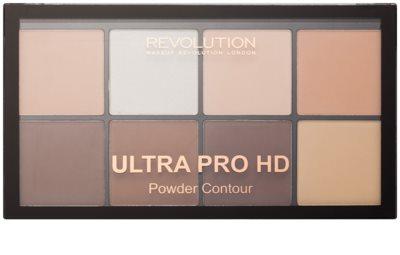 Makeup Revolution Ultra Pro HD Fair paleta na kontury obličeje pudrová 1