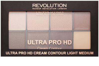 Makeup Revolution Ultra Pro HD Light Medium paleta do konturowania twarzy kremowa 2