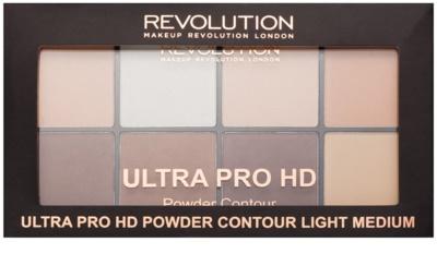 Makeup Revolution Ultra Pro HD Light Medium paleta do konturowania twarzy pudrowa 2