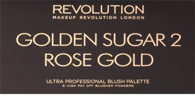 Makeup Revolution Golden Sugar 2 Rose Gold paleta de coloretes  con un espejo pequeño 2