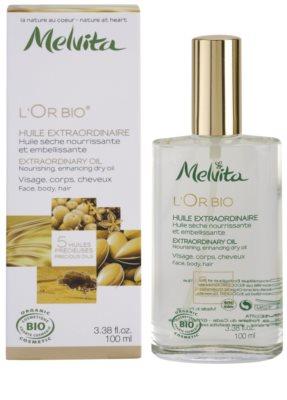 Melvita L'Or Bio óleo seco nutritivo para rosto, corpo e cabelo 2