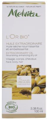 Melvita L'Or Bio óleo seco nutritivo para rosto, corpo e cabelo 3