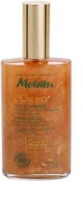 Melvita L'Or Bio glitzerndes Trockenöl für Gesicht, Körper und Haare
