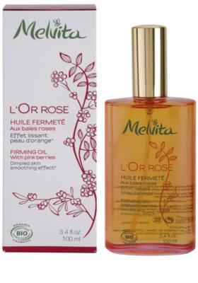 Melvita L'Or Rose óleo corporal refirmante  com efeito alisador 2