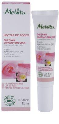 Melvita Nectar de Roses osvežilni gel za predel okoli oči proti oteklinam in temnim kolobarjem 1