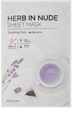 Missha Herb in Nude maska iz platna s pomirjajočim učinkom