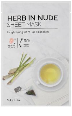 Missha Herb in Nude maska iz platna s posvetlitvenim učinkom