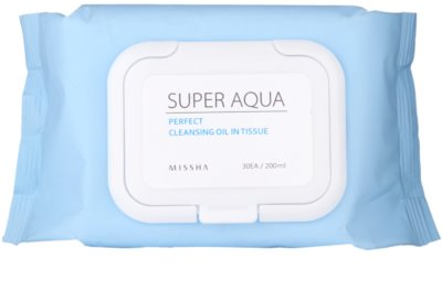 Missha Super Aqua Perfect toalhitas de limpeza com óleos de plantas