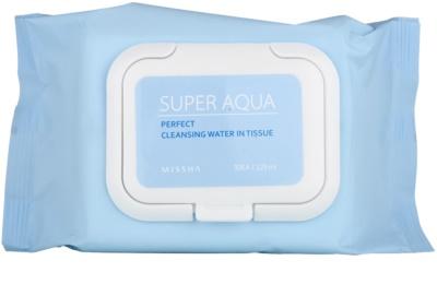 Missha Super Aqua Perfect oczyszczające chusteczki do twarzy  o dzłałaniu nawilżającym