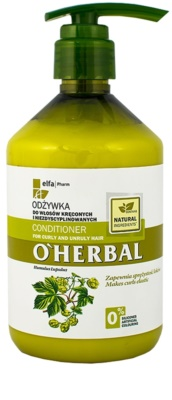 O'Herbal Humulus Lupulus condicionador para cabelos crespos e inflexíveis
