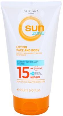 Oriflame Sun Zone молочко для засмаги для шкіри обличчя та тіла SPF 15