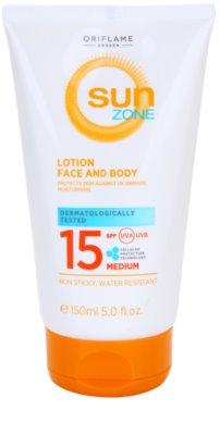 Oriflame Sun Zone mleczko do opalania do twarzy i ciała SPF 15
