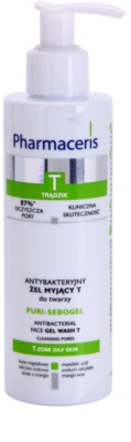 Pharmaceris T-Zone Oily Skin Puri-Sebogel gel de limpeza antibacteriano para pele problemática, acne
