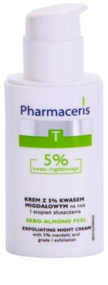 Pharmaceris T-Zone Oily Skin Sebo-Almond Peel creme facial de limpeza regulador para noite para tom da pele unificado 1