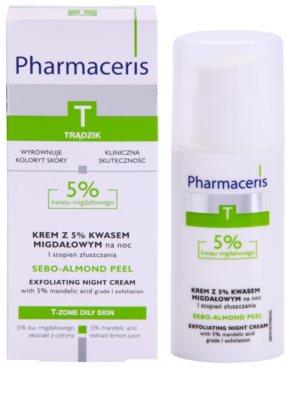 Pharmaceris T-Zone Oily Skin Sebo-Almond Peel creme facial de limpeza regulador para noite para tom da pele unificado 2