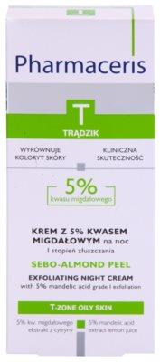 Pharmaceris T-Zone Oily Skin Sebo-Almond Peel creme facial de limpeza regulador para noite para tom da pele unificado 3