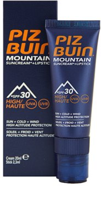 Piz Buin Mountain crema pentru fata si balsam pentru buze cu efect protectiv 2in1 SPF 30
