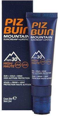 Piz Buin Mountain crema protectora para rostro y bálsamo de labios 2 en 1 SPF 30