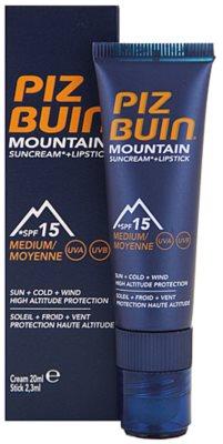 Piz Buin Mountain crema protectora para rostro y bálsamo de labios 2 en 1 SPF 15