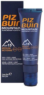 Piz Buin Mountain Schutzcreme für das Gesicht und Lippenbalsam 2in1 SPF 15