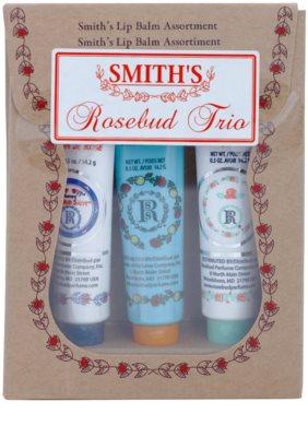 Rosebud Perfume Co. Smith's Rosebud Lip Balm Trio козметичен пакет  (Rose & Mandarin, Rosebud Salve, Minted Rose) 1