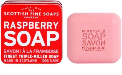 Scottish Fine Soaps Raspberry jabón de lujo en frasco metálico