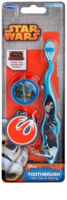 SmileGuard Star Wars escova de dentes para crianças com tampa de viagem e porta-chaves soft