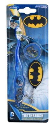 SmileGuard Batman periuță de dinți pentru copii cu capac de călătorie și breloc  fin