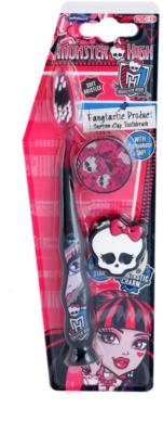 SmileGuard Monster High escova de dentes para crianças com tampa de viagem e porta-chaves soft