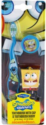 SmileGuard SpongeBob escova de dentes para crianças com tampa de viagem e porta-chaves soft