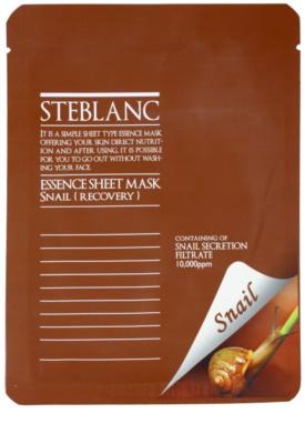 Steblanc Essence Sheet Mask Snail máscara facial nutritiva e renovadora com efeito hidratante