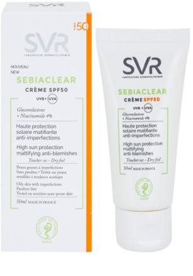 SVR Sebiaclear schützende matte Creme für fettige Haut mit Schönheitsfehlern SPF 50 1
