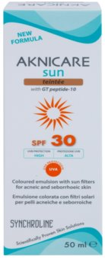 Synchroline Aknicare  Sun тонуюча емульсія для шкіри, ураженої себорейним дерматитом та акне SPF 30 2