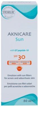 Synchroline Aknicare  Sun емульсія для засмаги для шкіри, ураженої себорейним дерматитом та акне SPF 30 2