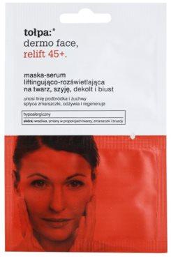 Tołpa Dermo Face Relift 45+ máscara iluminadora com efeito lifting