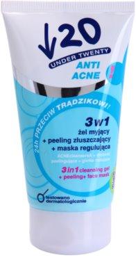 Under Twenty ANTI! ACNE čisticí gel, peeling a pleťová maska 3 v 1