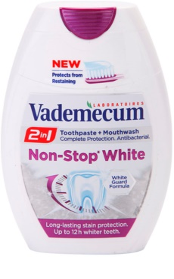 Vademecum 2 in1 Non-Stop White зубна паста + рідина для полоскання порожнини рота в одному