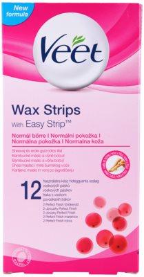 Veet Wax Strips plastry do depilacji woskiem z masłem shea, o zapachu czerwonych jagód