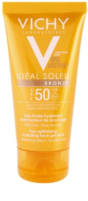 Vichy Idéal Soleil Bronze gel-fluido hidratante facial para potenciar el bronceado SPF 50