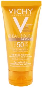 Vichy Idéal Soleil Bronze vlažilni gel fluid za obraz za pospešitev porjavelosti SPF 50