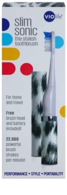 Violife Slim Sonic White Leopard escova de dentes sónica elétrica com cabeça de reposição 4