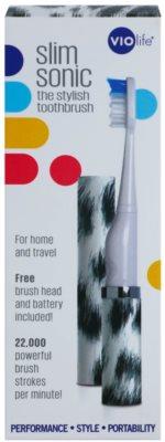 Violife Slim Sonic White Leopard електрична зубна щітка на батарейках із запасною головкою 4