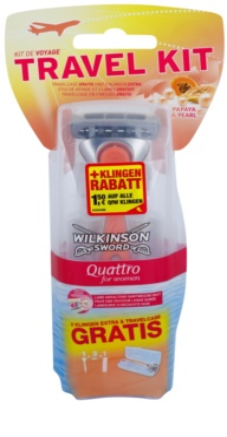 Wilkinson Sword Quattro for Women Papaya & Pearl Aparat de ras + 2 capete de schimb pachet pentru calatorie