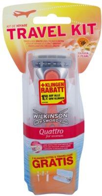 Wilkinson Sword Quattro for Women Papaya & Pearl brivnik + 2 nadomestni britvici potovalno pakiranje