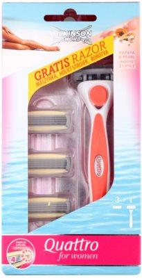 Wilkinson Sword Quattro for Women Papaya & Pearl holiaci strojček náhradné čepieľky 3 ks