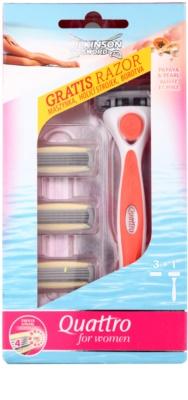 Wilkinson Sword Quattro for Women Papaya & Pearl máquina de barbear + refil de 3 lâminas