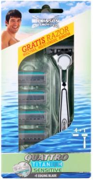 Wilkinson Sword Quattro Titanium Sensitive máquina de barbear + refil de lâminas 4 pçs