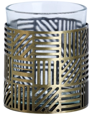 Yankee Candle Crosshatch Brass Stekleni svečnik za votivno svečo